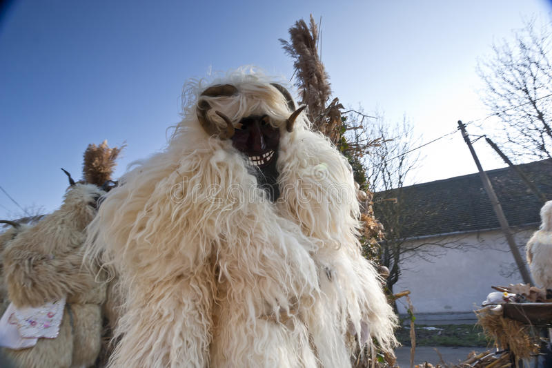 Masker di carnevale in pelliccia 'al Busojaras', il carnevale del funerale dell'inverno immagini stock