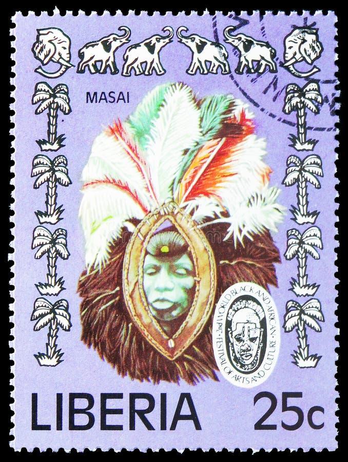 Masker en Olifanten, het 2de Wereld Zwarte en Afrikaanse Festival van Kunsten en Cultuur serie, circa 1977 stock afbeelding
