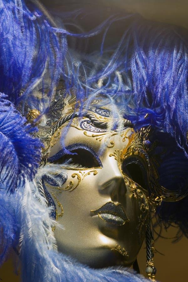 Masker in goud en blauw royalty-vrije stock foto's