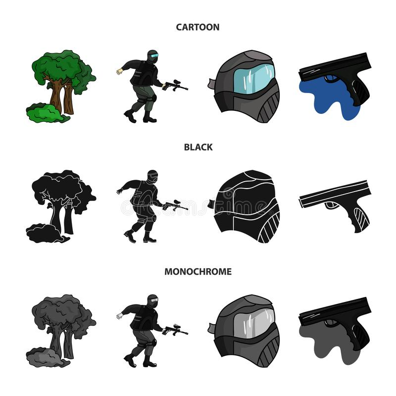 Masker, kanon, verf, inventaris Pictogrammen van de Paintball de vastgestelde inzameling in beeldverhaal, de zwarte, zwart-wit vo stock illustratie