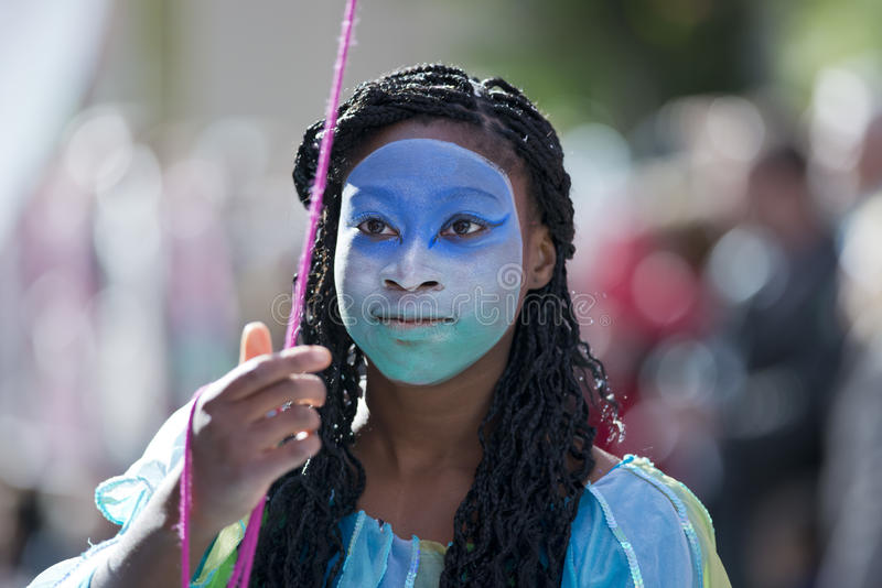 Masker nella parata di festival del limone fotografia stock