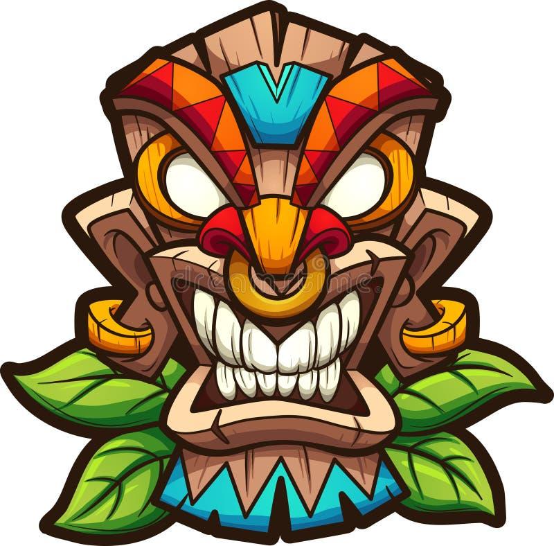 Masker van beeldverhaal het kleurrijke tiki met bladeren stock illustratie