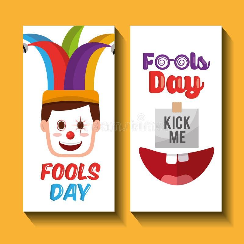 Masker van de gezichts schopt het gelukkige clown en me de banners van de dwazendag stock illustratie