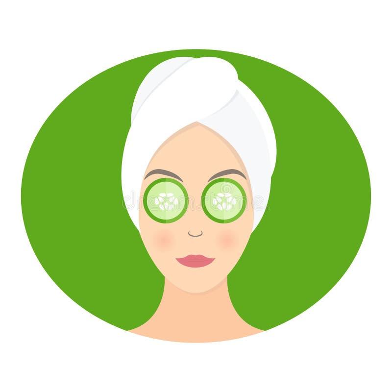 Masker van komkommer op haar ogen Vector royalty-vrije illustratie