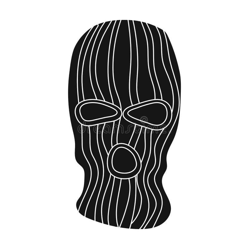 Maskera för att stänga framsidan av lagbrytaren från vittnar Enkel symbol för fängelse i svart illustration för materiel för stil royaltyfri illustrationer