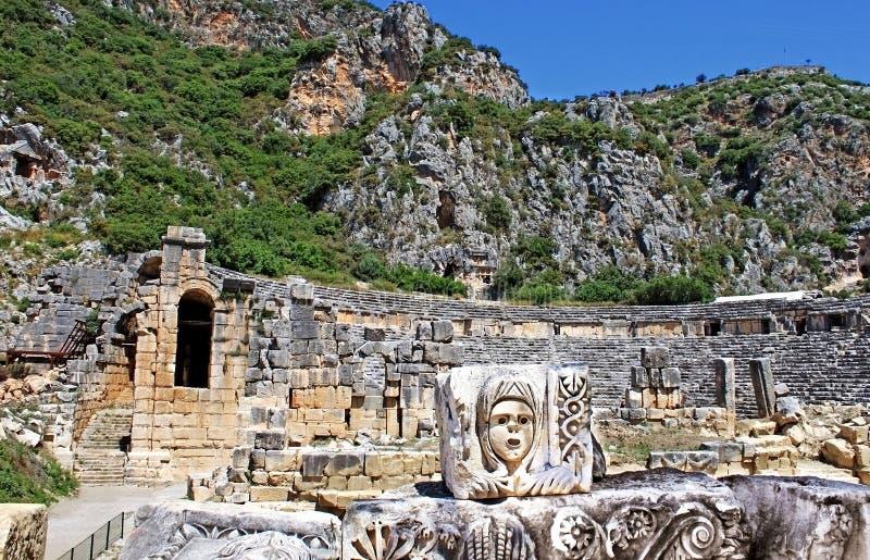 Maskera, vagga tombs och den forntida teatern royaltyfria foton