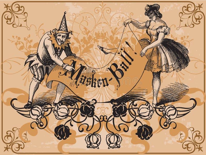 maskerad boll royaltyfri illustrationer