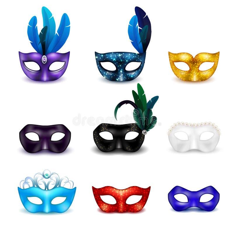 Maskerade-Masken-realistischer Ikonen-Satz stock abbildung