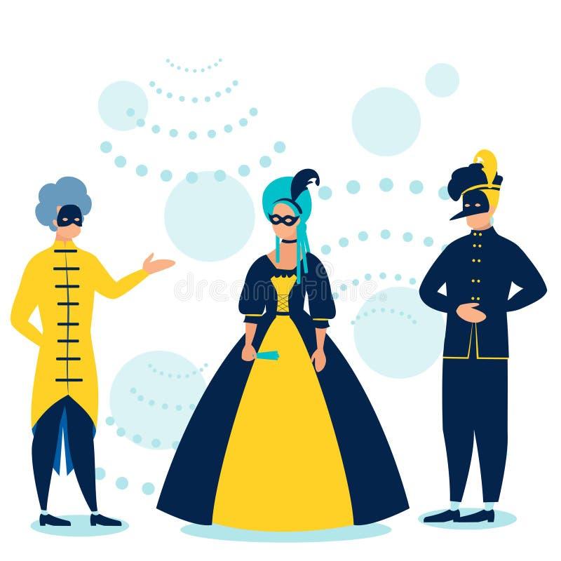 maskerade Mensen in kostuums bij de dans In minimalistische stijl Beeldverhaal vlakke vector royalty-vrije illustratie