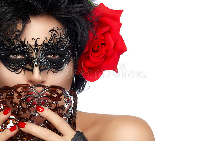 maskerade Vrij Korte Haarvrouw met Elegant Masker royalty-vrije stock fotografie