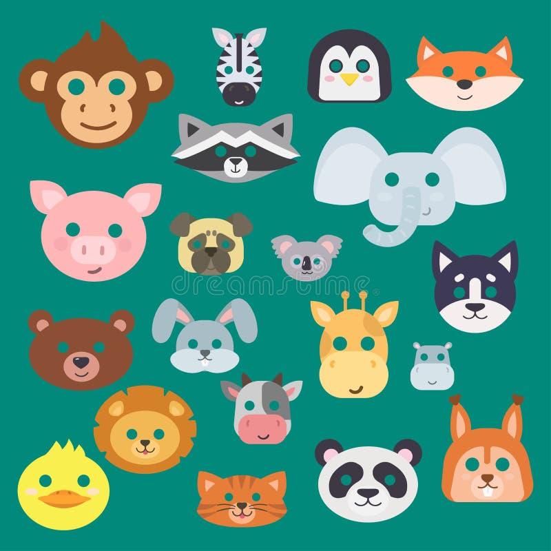 Maskeraden och partiet för garnering för festival för uppsättning för vektor för djurkarnevalmaskering kostymerar gulliga den iso royaltyfri illustrationer