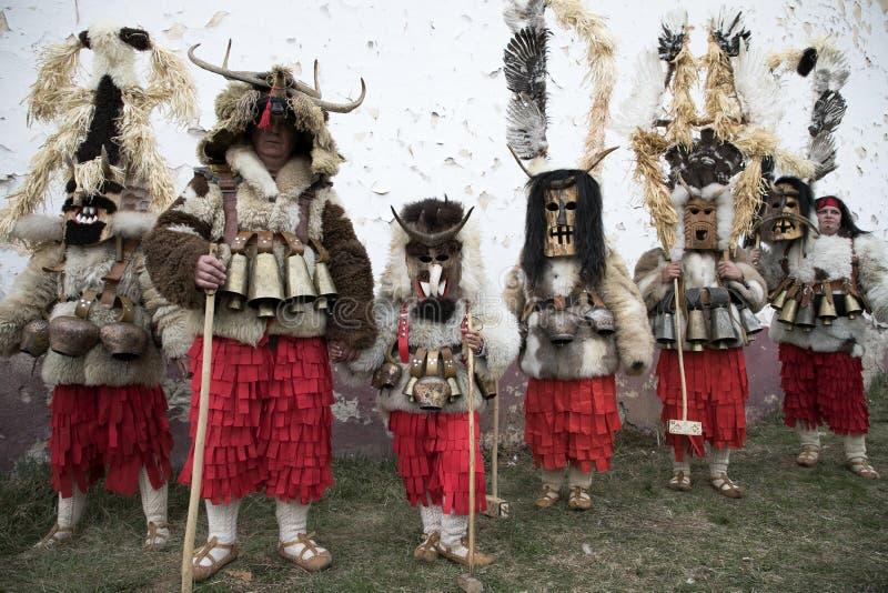 Maskeradfestival i Zemen, Bulgarien royaltyfri bild