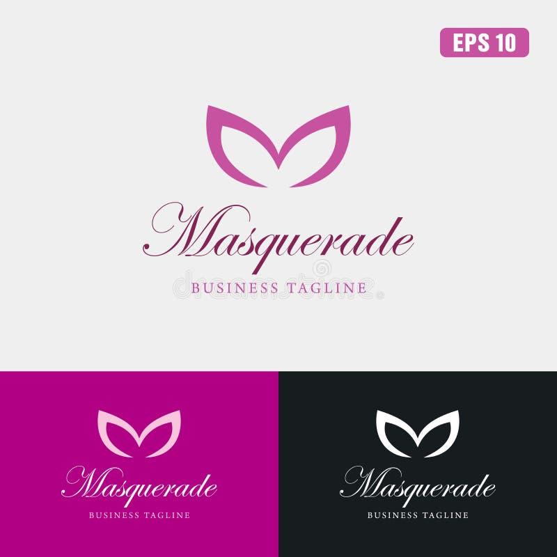 Maskeradlogo/affär Logo Idea för symbolsvektordesign arkivbilder