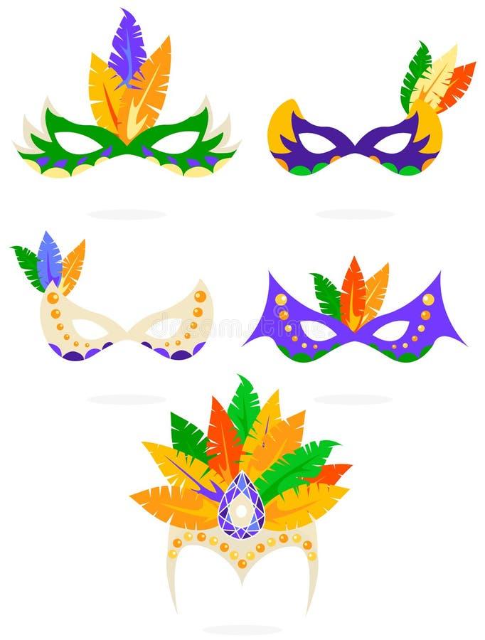 Maskerar den färgrika karnevalet för vektorn symbolsuppsättningen royaltyfri illustrationer