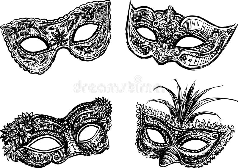 maskerar maskeraden vektor illustrationer