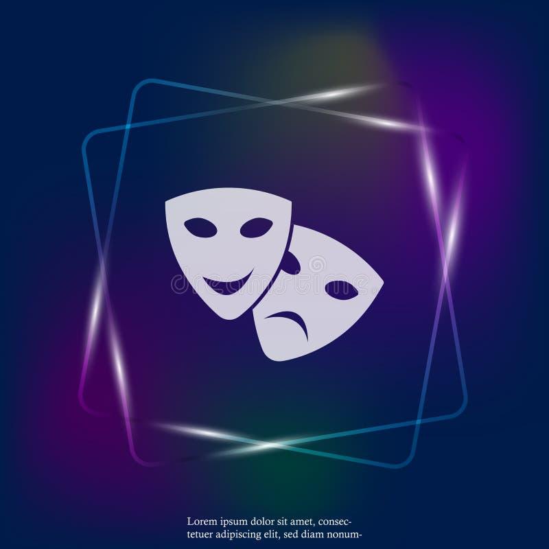 Maskering för framsida för bild för vektorneon ljus scenisk Drama och komedi, vektor illustrationer