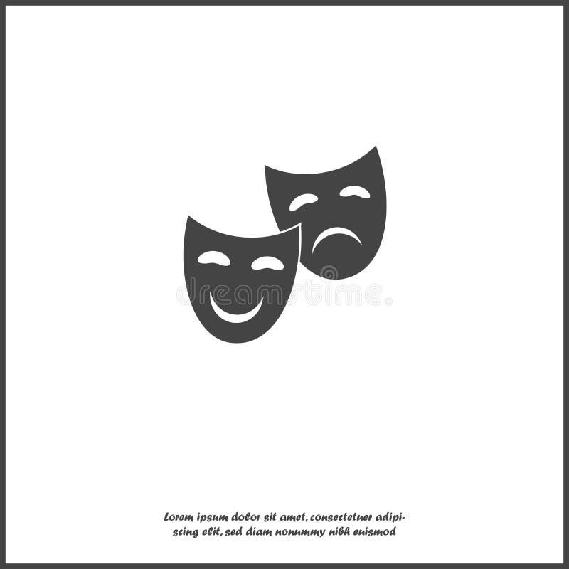 Maskering för framsida för vektorbild scenisk Drama- och komedisymbol på vit isolerad bakgrund vektor illustrationer