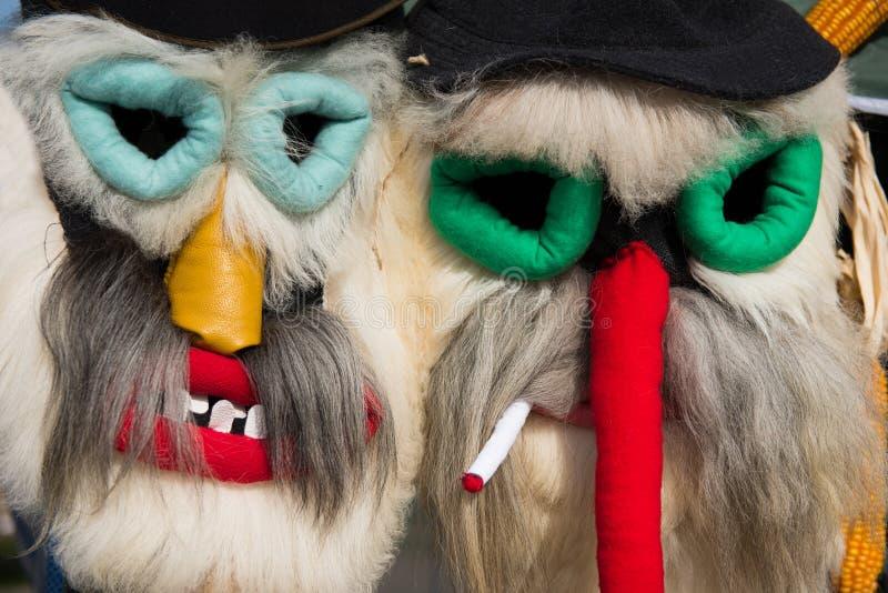 Maskering för jul för vinterferier traditionell, masque från Rumänien royaltyfria bilder