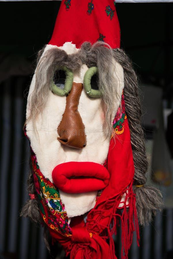 Maskering för jul för vinterferier traditionell, masque från Rumänien arkivfoto
