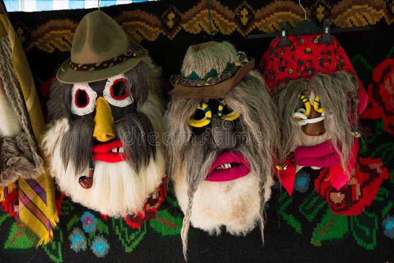 Maskering för jul för vinterferier traditionell, masque från Rumänien fotografering för bildbyråer