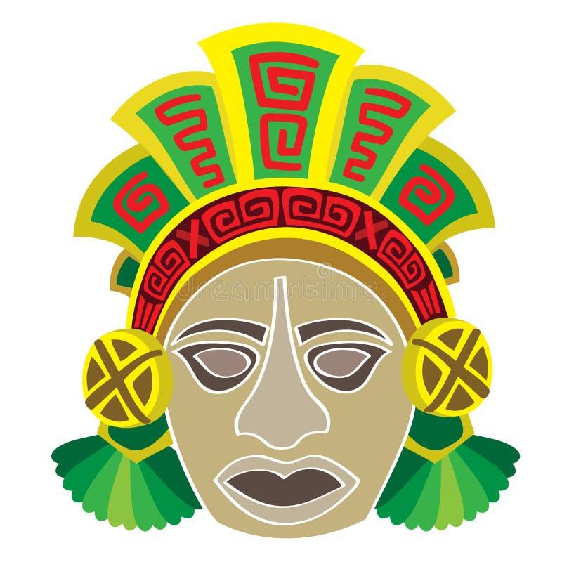 Maskering i stil av mayaen. stock illustrationer