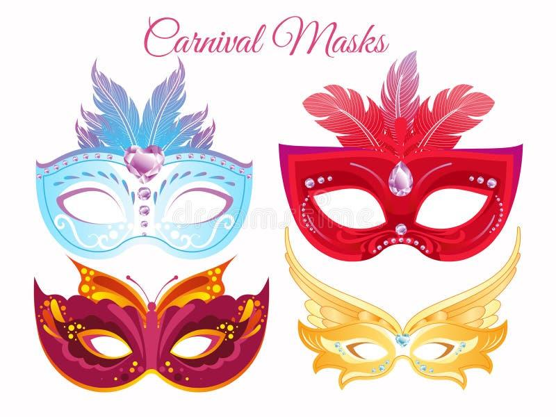 Maskeringar för ansiktsbehandling för karneval för vektorillustrationuppsättning venetian målade Maskeringar för ett parti dekore royaltyfri illustrationer
