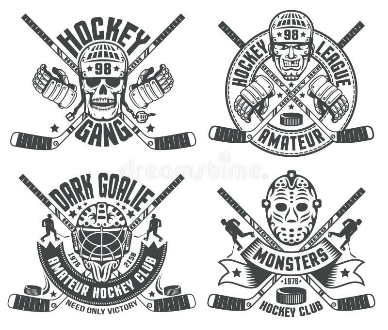 Maskeringar för hockeylogogoalie royaltyfri illustrationer