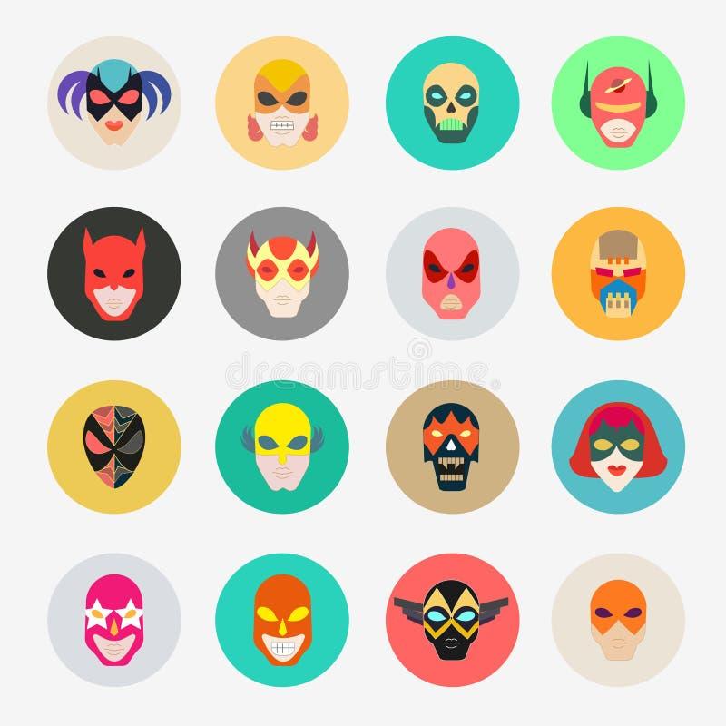 Maskeringar för toppen hjälte för framsidatecken Plana symboler för Superhero Symbo stock illustrationer