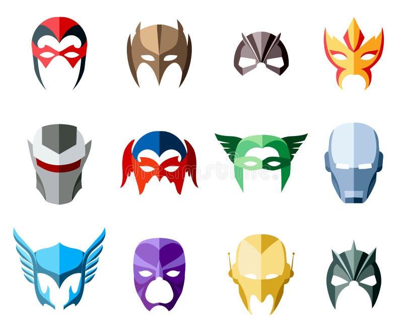 Maskeringar för toppen hjälte för vektor för framsidatecken i lägenhet royaltyfri illustrationer