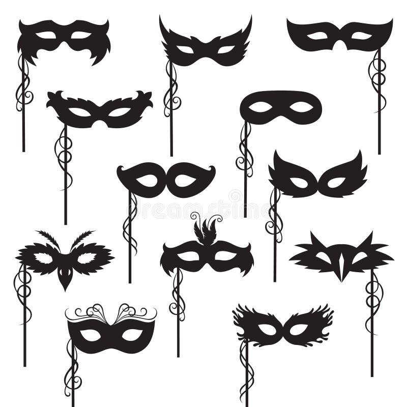 Maskeringssamling stock illustrationer