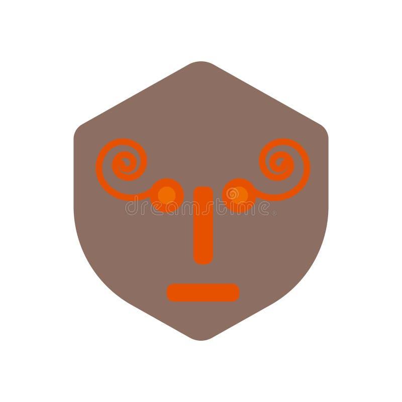 Maskeringssymbolsvektor som isoleras på vit bakgrund, maskeringstecken, historiska symboler för stenålder royaltyfri illustrationer
