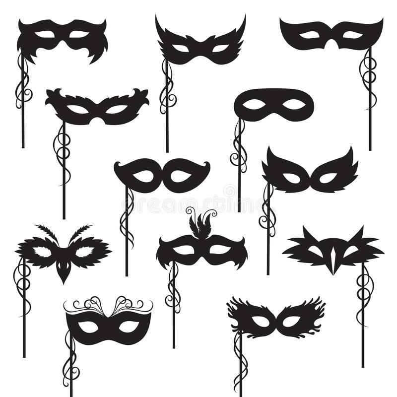 Maskerinzameling stock illustratie