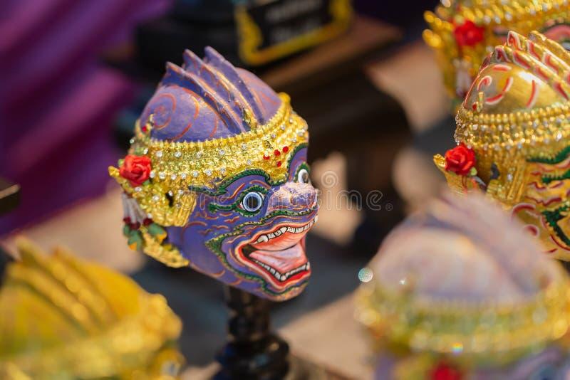 Maskerreplica ` Hua Khon `, Met de hand geschilderd Thais masker voor dansende één van Thaise traditionele cultuurdans in Thailan royalty-vrije stock afbeelding