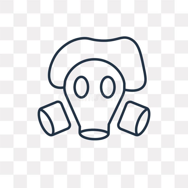 Maski gazowej wektorowa ikona odizolowywająca na przejrzystym tle, liniowym ilustracja wektor