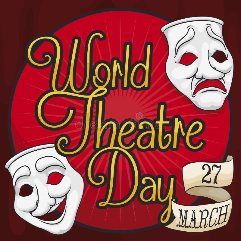 Maski i faborek na scenie dla Światowego Theatre dnia, Wektorowa ilustracja ilustracji
