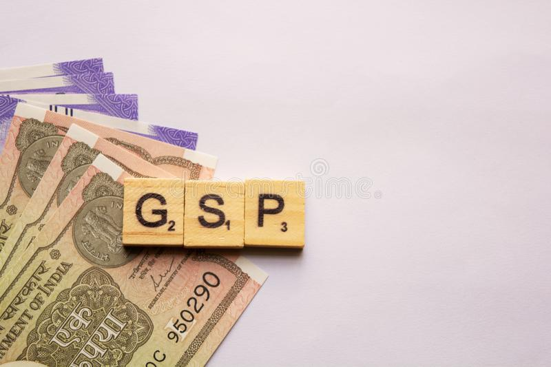 Maski,India 13,April 2019 : Alphabet letter in word GSP Abbreviation of Good Storage Practice or Generalized System of. Preferences or Gross State Product with royalty free stock photo