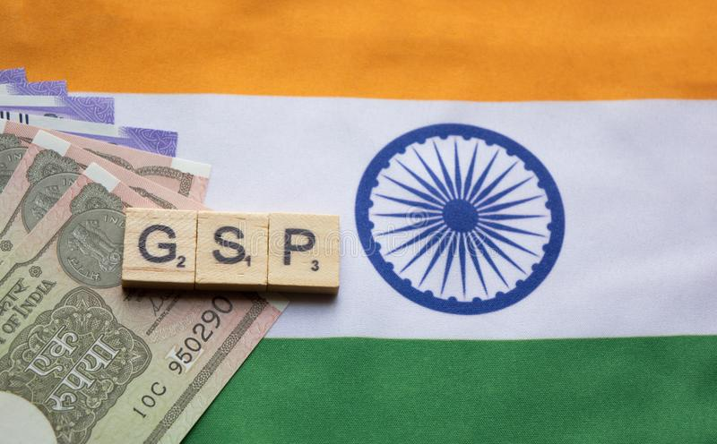 Maski,India 13,April 2019 : Alphabet letter in word GSP Abbreviation of Good Storage Practice or Generalized System of. Preferences or Gross State Product on royalty free stock image