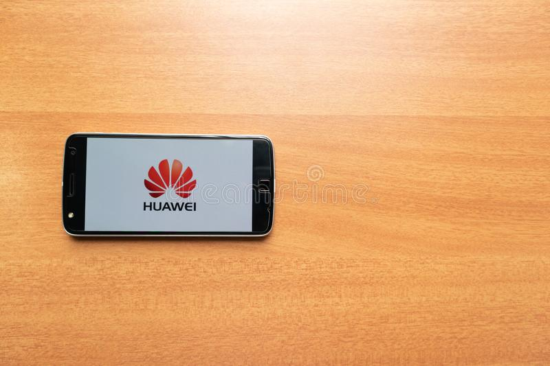 Maski, India - June 21, 2019: Huawei logo on screen of Mobile. Huawei Technologies Co., Ltd. is a Chinese multinational networking stock photography