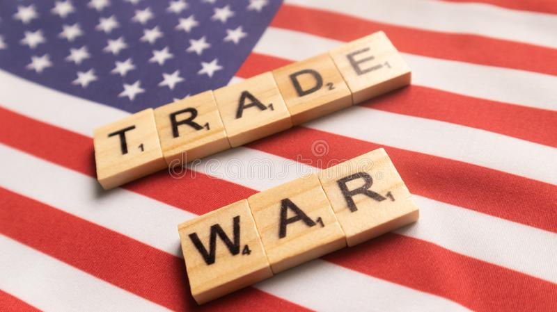 Maski, India 29,May 2019 : China-US trade war concept - flag of China and the United States with wooden block letters.  stock images