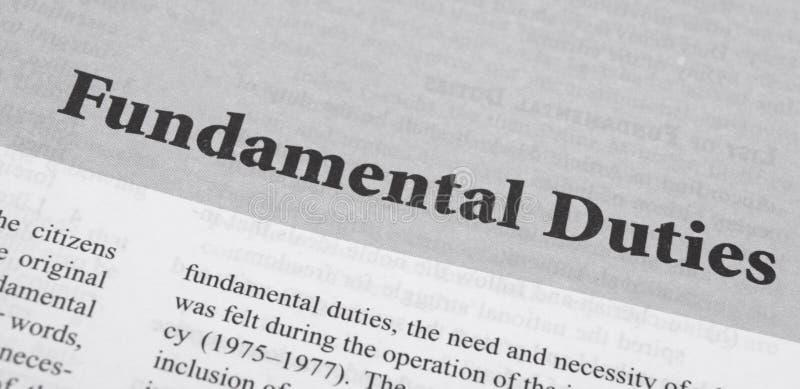 Maski,Karnataka,India - January 4,2019 : Fundamental Duties printed in book with large letters.  stock photo