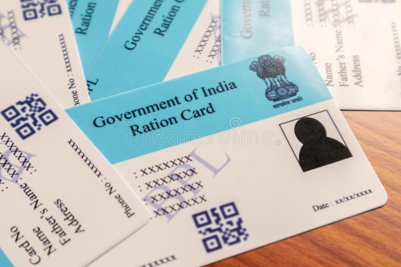 Maski, Karnataka, India - June 26 2019: Ration Cards issued b the State govenrments in India for buying Rations at fair price. Maski, Karnataka, India - June 26 stock photos