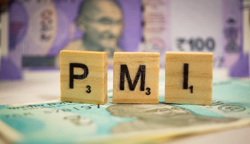 Maski, Karnataka, la India - marzo 07,2019: PMI o los directores de compras pone en un índice concepto en letras de molde de made imagen de archivo