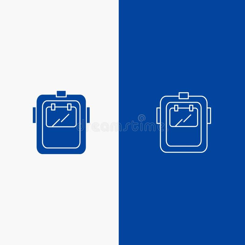 Maski, spawu, ochrony, spawacza, kłobuk linii i glifu Stałej ikony sztandaru glifu, Błękitnej ikony błękita Stały sztandar ilustracji