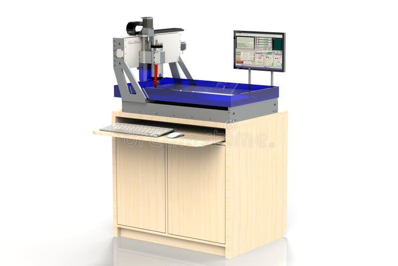 Maskin för malning för Cnc-malningmaskin skrivbords- för material för bitande ark i vatten stock illustrationer