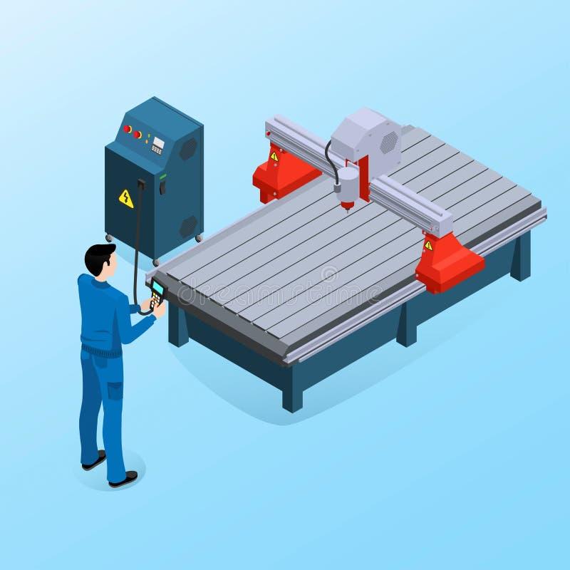 Maskin för operatörscnc-malning, modern maskin vektor illustrationer