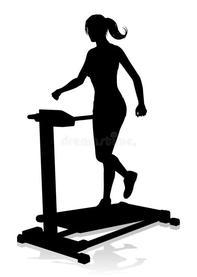 Maskin för spring för trampkvarn för idrottshallkvinnakontur stock illustrationer