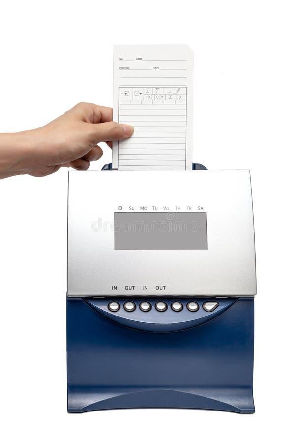 Maskin för Tid registreringsapparat på vit bakgrund royaltyfri bild
