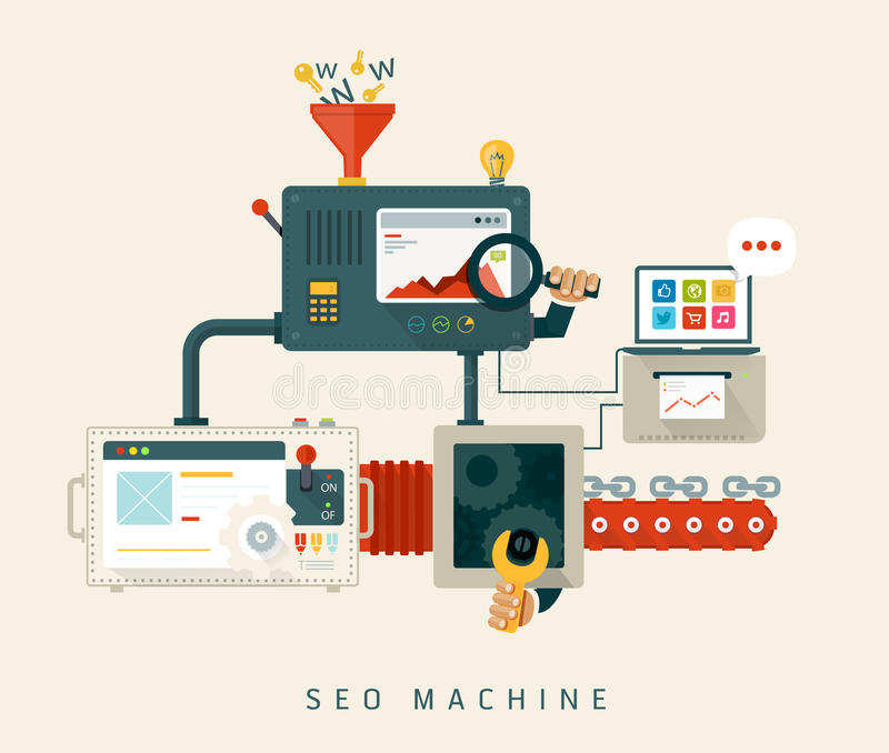 Maskin för Website SEO, process av optimization. Lägenhet stock illustrationer