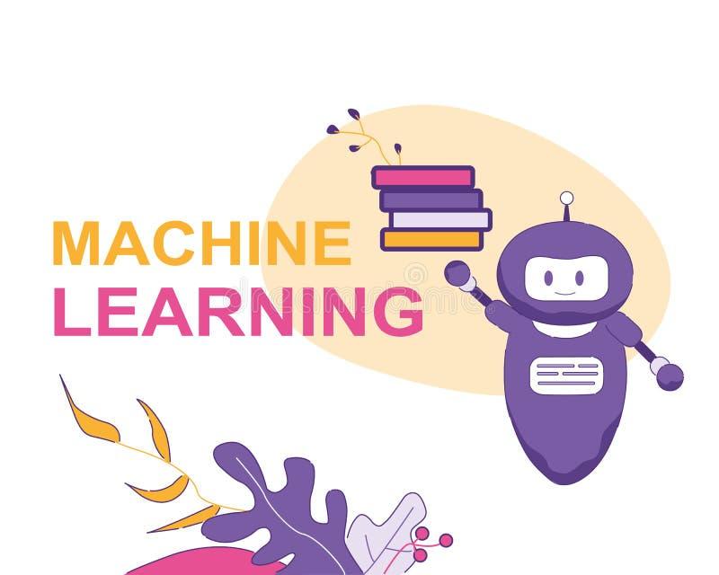 Maskin Larning PratstundBot för konstgjord intelligens stock illustrationer
