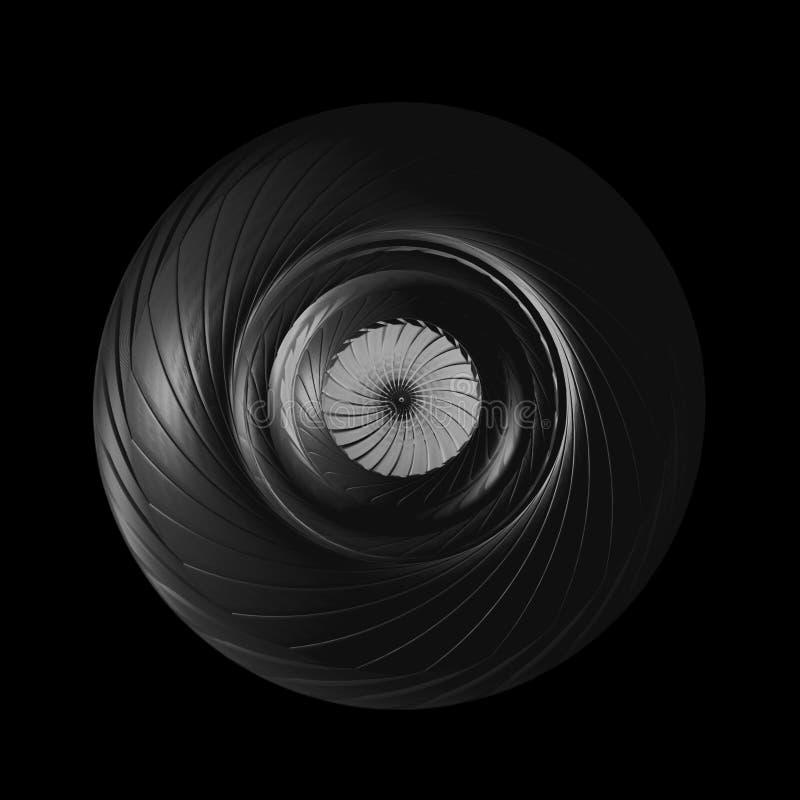Maskindel med roterande blad Begrepp för turbinrotoren, Turbofan motor vektor illustrationer